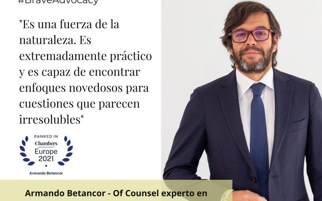 Armando Betancor, reconocido en el directorio internacional Chambers Europe 2021 en el área de Reestructuraciones e Insolvencias